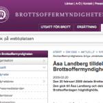 Brottsoffermyndighetens årliga utmärkelse 2009 gick till Åsa Landberg