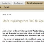 Stora psykologpriset 2010 gick till Åsa Landberg